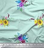Soimoi Grun strahlkrepp Stoff Sonnenblumen und Pfingstrosen