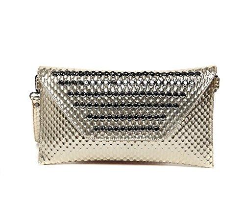 Sacchetto di mano, sacchetto delle signore, borsa del diamante di modo, versione coreana del sacchetto di polso del ribattino, pacchetto di sera di modo ( Colore : Silver ) Oro