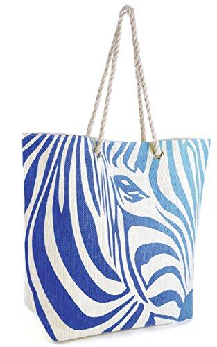 Summer Bags-Borsa a tracolla con manico, motivo zebrato Blu (blu)
