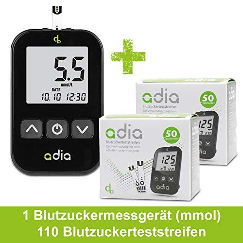 Adia Diabetes-Starter-Set inkl. Blutzuckermessgerät (mmol) mit 110 Blutzuckerteststreifen, Stechhilfe und Lanzetten - Einfache Selbstkontrolle bei Diabetes!