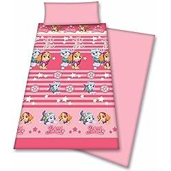 J. de Sábana invierno Patrulla Canina - tacto terciopelo de CORALINA cama de 105 cm en rosa