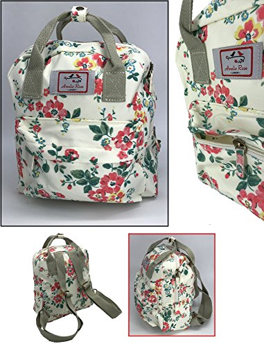 Amelia Rose London® Floral Design vintage Flower style Backpack Rucksack holiday travel Lady women mini Handbag - Small Girl School Bag (White)
