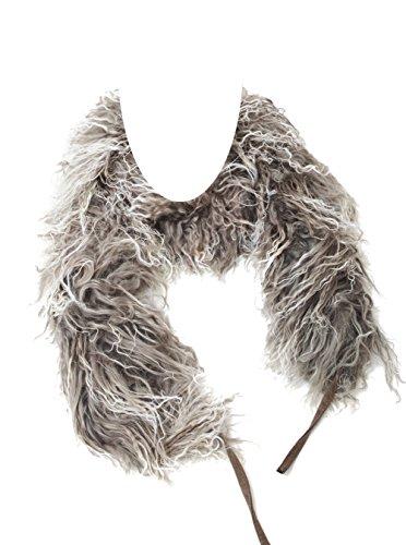 Tibet Lammfell Schal Boa Stola (100% Tibetlammfell Qualität) Farbe silber grau (Tops) JAY105 Boa-140