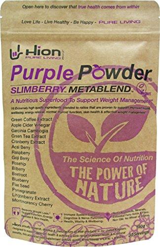 """Hion Purple Powder - SLIMBERRY METABLEND ✸ GEWINNER DES """"BESTEN GEWICHTSMANAGEMENT-SUPPLEMENTS"""" - GESUNDE AUSZEICHNUNGEN, UK ✸ Vegan, alkalisch und glutenfrei. Premium-Qualität gesundes Gewichtsmanagement"""