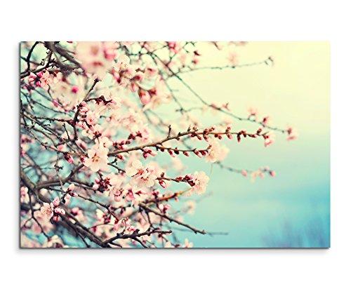 Schlafzimmer-art-print (Wandbild 120x80cm Naturfotografie – Rosa Kirschblüten auf Leinwand für Wohnzimmer, Büro, Schlafzimmer, Ferienwohnung u.v.m. Gestochen scharf in Top Qualität)