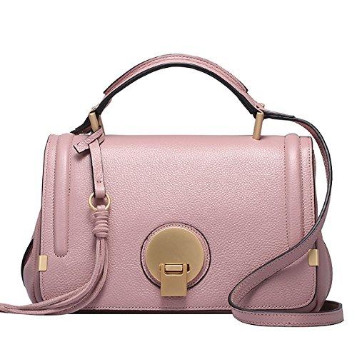 Dissa Q0748 Damen Leder Handtaschen Top Handle Satchel Tote Taschen Schultertaschen,28x14x18 B x T x H (cm) Rosa