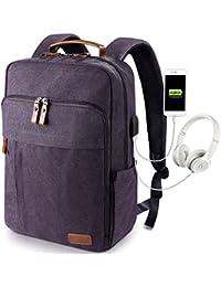 Estarer Sac à Dos Ordinateur Portable 17-17.3 Pouces en Toile Vintage Port de Chargeur USB Externe Travail Ecole Gris