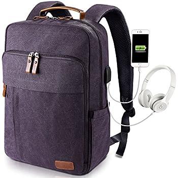 58076289c935e Estarer Sac à Dos Ordinateur Portable 17-17.3 Pouces en Toile Vintage avec  Port de Chargeur USB Externe pour Travail Ecole Gris