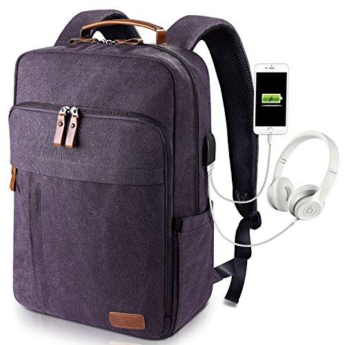 Estarer Laptoprucksack 17 / 17.3 Zoll Notebook Rucksack für Arbeit Uni Canvas Grau