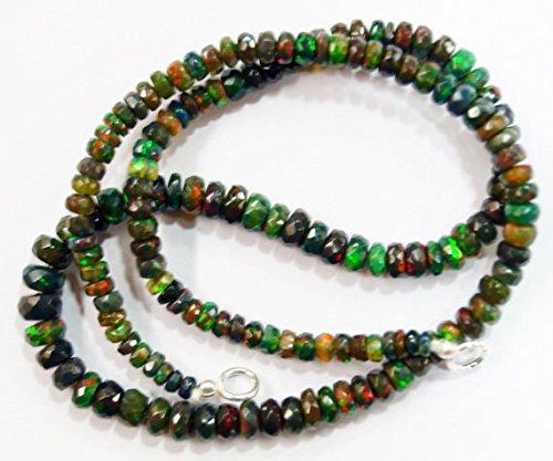 Natur Gem Stone schwarz Äthiopische Opal Halskette facettierte Perlen Komplett Top Rainbow Fire blinkende 43,2cm 3bis 6mm (Rainbow Jewel Halskette)