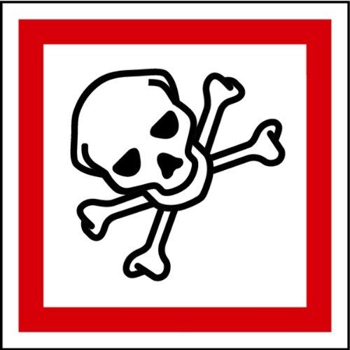 Aufkleber GHS 06 Gefahrensymbol Totenkopf, Einzeln 25x25mm (Gefahrensymbole)
