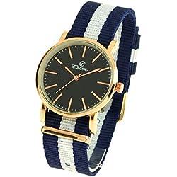 montre-concept-Multi-Coloured Round Colour Rose Gold Black Dial Nylon Bracelet Men's Analogue Watch-mab-1-0089