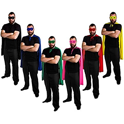 ADULTS SUPERHERO CAPES AND MASKS PERFECT FOR ANY HERO OR VILLAIN FANCY DRESS PARTY FOR MEN OR WOMEN IN BLUE