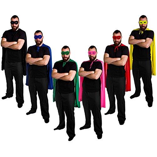 ILOVEFANCYDRESS SUPERHELDEN ODER HELDINEN UMHANG IN 6 VERSCHIEDENEN FARBEN MASKE IN DER FARBE DES UMHANGS=HERO CAPE IN ROT MIT MASKE (Robin Verschiedenen Kostümen)