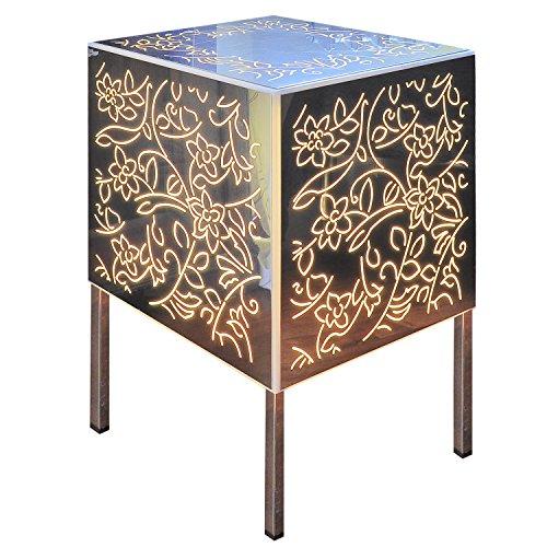Beistelltisch/Nachttisch Cubo Plexiglas/-in Stahl hell verspiegelt/außen Garten Wohnzimmer Schlafzimmer (Lampe Tisch Spiegel Konsole)