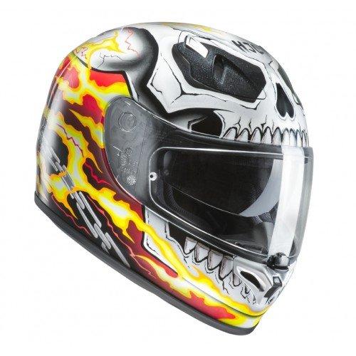 HJC Casque Moto Fg-St Ghost Rider MC1, Blanc/Rouge/Jaune, Taille S