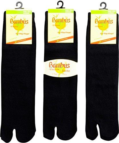 3 x Tabi Socks Flip Flop Socken aus Viskose Farbe Schwarz