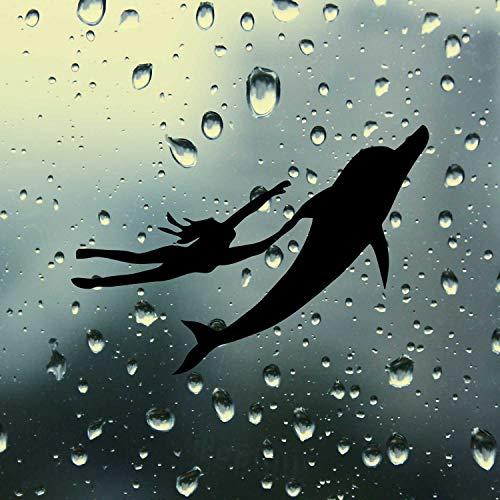 SUPERSTICKI Delfin und Frau Schwimmen ca 20cm Auto Aufkleber Tuning Spruch Fun Lustig aus Hochleistungsfolie Aufkleber Autoaufkleber Tuningaufkleber Hochleistungsfolie für alle glatten Fläc