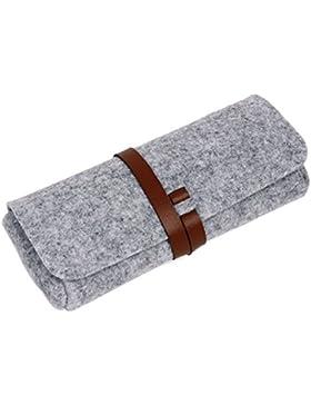 EQLEF® Gafas de sol con la caja de los vidrios de cuero artificial atado con correa Cinturones Strips