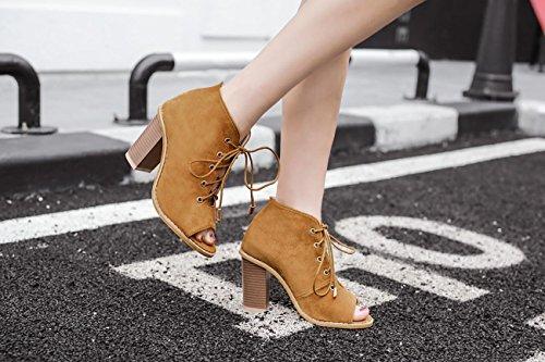 LvYuan-mxx Sandales femme / Printemps Été / daim / Sangles creux / gros orteils Poitrine bouche chaussures / Confort Casual / Bureau & Carrière Robe / Bottes cool / Talons hauts COFFEE-39