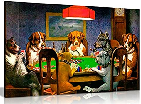 Pokers Dogs Playing Cards C. M. Coolidge Canvas Wall Art Picture Print (36x24in)