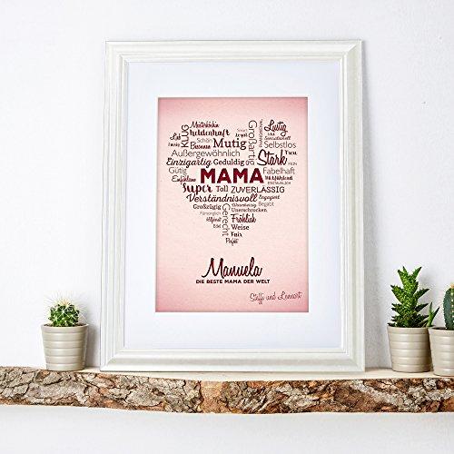 Bild wortherz f r mama personalisiert mit namen - Bilderrahmen personalisiert ...