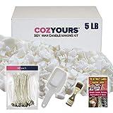 CozYours Kit de Fournitures pour la Fabrication de Bougies (Cire de soja 2 kg 300 g / 60 Mèches de coton/1 Dispositif de centrage du métal/1 Pelle)
