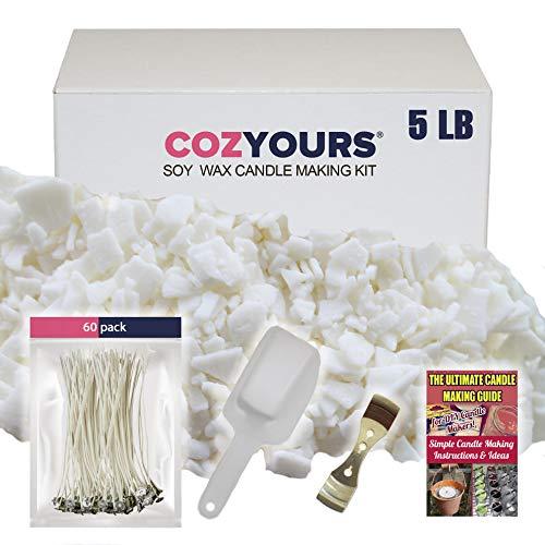CozYours Zubehör Set für die Kerzenherstellung (Soja Wachs 2 kg 300 g/60 Kerzendochte/1 Kerzendocht-Halter/1 Schaufel)