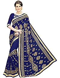 Siddeshwary Fab Women's Georgette Embroidered Saree With Blouse Piece ( S-37 Navy Blue Kalkatti )