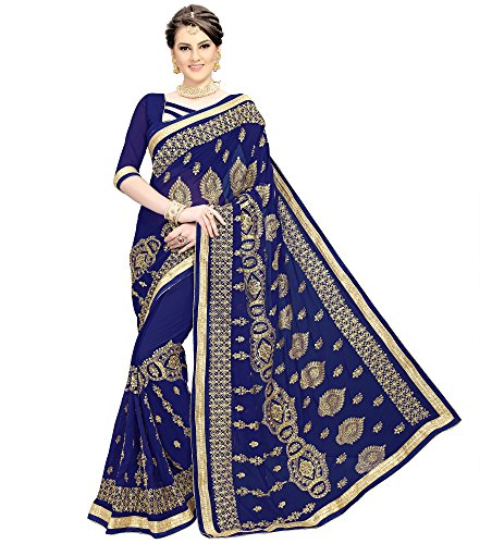 Siddeshwary Fab Women's Georgette Embroidered Saree With Blouse Piece ( S-37 Navy...
