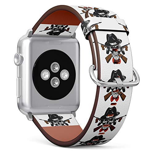 tch Armband, Echtes Leder Uhrenarmband f¨¹r Apple Watch Series 4/3/2/1 Sport Edition 42/44mm - Gangster Skull with Machine Gun ()
