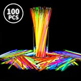 E-More Glow Sticks Bulk, 100 8 'Glow Sticks Party Pack, ungiftig Super Bright Rot Blau Glow Sticks f