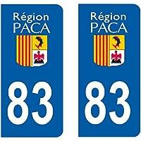 Paire sticker immatriculation 83 - Var