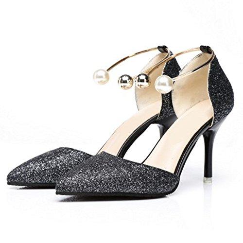 COOLCEPT Femme Nouvaux Sangle De Cheville A Enfiler Sandales Talon Aiguille Bout Ferme Pointue Chaussures Taille Noir