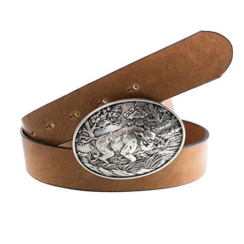 Almbock Trachtengürtel Wildsau - ovale Gürtel-Schnalle in alt-silber mit Wildschwein-Motiv, exclusives Design in hell-braun, für Männer (Männer Silber Gürtel Für)