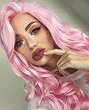 Die besten IMSTYLE Lace Front Perücken - imstyle Kunsthaar Lang Wasser gewellt rosa Perücke Lolita Bewertungen