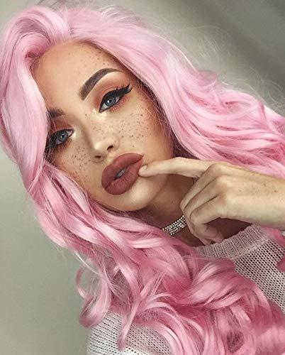 imstyle Kunsthaar Lang Wasser gewellt rosa Perücke Lolita Kostüme Sweet Kim Kardashian Kunsthaar-Perücke Spitze vorne Günstigen Cosplay