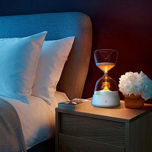 Doxungo Hourglass lumière de Nuit, Lampe de Yoga, Romantique Lampe de Chevet, 15 Minute Sablier minuteur 4 Couleurs changeantes Décoration de Verre/lumière de Nuit/Salon Chambre à Coucher Décorations