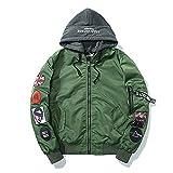 Betrothales Herren Winter Patches Flug Herbstjacke Jacken Gesteppte Mit Mantel Kapuze Bomberjacke Langarm Outerwear (Color : Grün, Size : L)