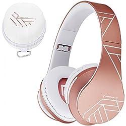 PowerLocus Casque Bluetooth sans Fil, Casque Audio stéréo Pliable sans Fil et Filaire avec Micro intégré, Micro SD/TF, FM pour iPhone/Wiko/Samsung/iPad/PC (Or Rose)