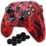 YoRHa Agua Transferir Impresión Camuflaje Silicona Cubrir la piel Caso para Xbox One X / One S Mando x 1 (rojo) Con empuñaduras PRO x 8