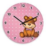 Wanduhr mit Bärchen-Motiv für Mädchen – rosa - | Kinderzimmer-Uhr | Kinder-Uhr