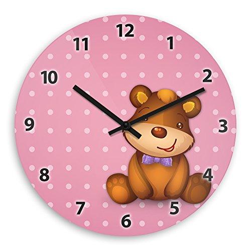 Wanduhr mit schönem Bärchen-Motiv für Mädchen – rosa - | Kinderzimmer-Uhr | Kinder-Uhr