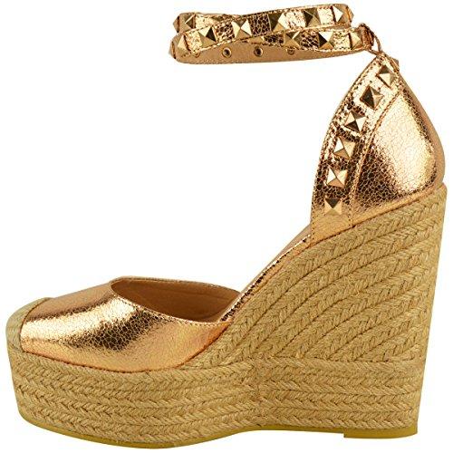 NUOVO Donna Alto tacco con zeppa sandali con plateau cinturino alla caviglia, estivo Espadrillas Taglia rosa dorato PIEGHE metallizzato