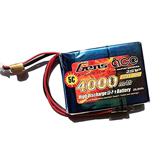 Gens Ace 4000mAh 7.4V 2S1P Empfänger LiPo Akku mit EHR Stecker für Modellbau RC Heli Stiefel FPV Auto Hubschrauber Flugzeug Spielzeug Wie Spektrum DX9, DX8, DX7s, DX7 und Futaba