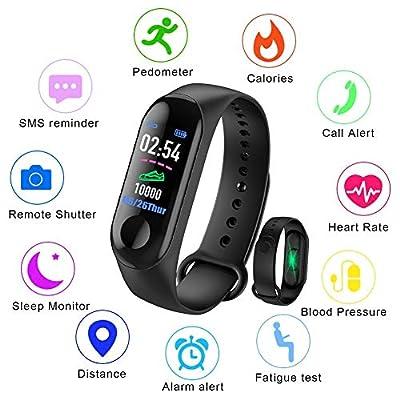 LIGE Fitness Tracker, 0.96 inch Color Screen Heart Rate Blood Pressure Monitoring Smart Bracelet IP67 Waterproof Sports Bracelet Pedometer Calorie Counter Sleep Monitor Bluetooth Bracelet by LIGE