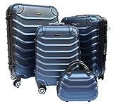 R.Leone Valigia da 1 pezzo Fino a Set 4 Trolley Rigido grande, medio, bagaglio a mano e beauty case 4 ruote in ABS 2026 (Blu, Set 4 XS X M L)