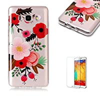 For Samsung Galaxy J710/J7 2016 Case [with Free Screen Protector],Funyye Fashion lovely Lightweight Ultra Slim Anti Scratch Transparent Soft Gel Silicone TPU Bumper Protective Case Cover Shell for Samsung Galaxy J710/J7 2016 - Red Flower