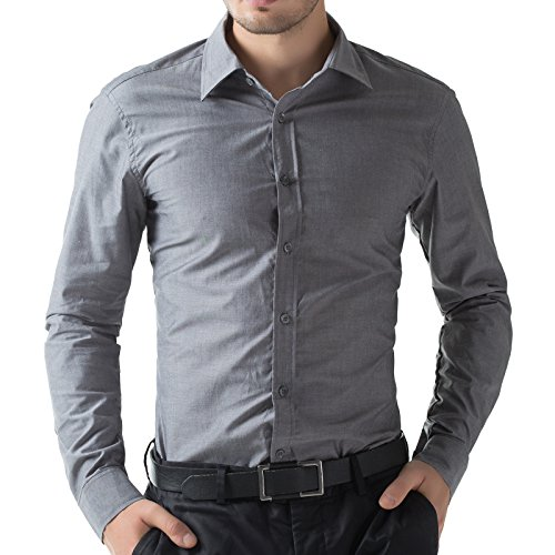 Classic Mens Shirt Oxford Office Shirts Gray PJ5252-2 M