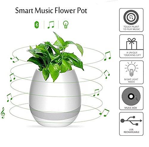 NNIUK Kreativer intelligenter Musik-Blumentopf, Klavier spielen, indem er reale Pflanze berührt, Bluetooth Lautsprecher, bunte Atmosphäre-Lichter für geschaffenes neues Leben-Art, Weiß
